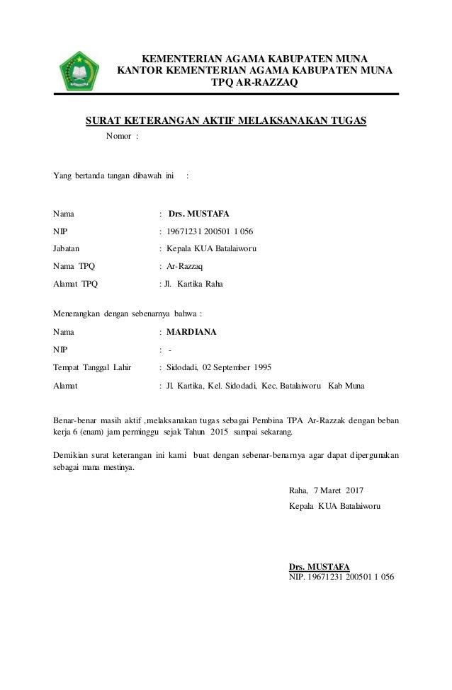 5. surat keterangan aktif melaksanakan tugas