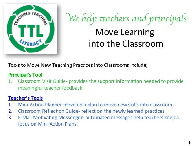 We help teachers and principals	  Move	Learning	 	into	the	Classroom	 Tools	to	Move	New	Teaching	Prac7ces	into	Classrooms	...