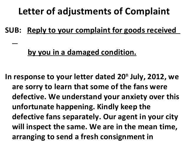 5 letter of adjustments of complaint letter of adjustments of complaint altavistaventures Images