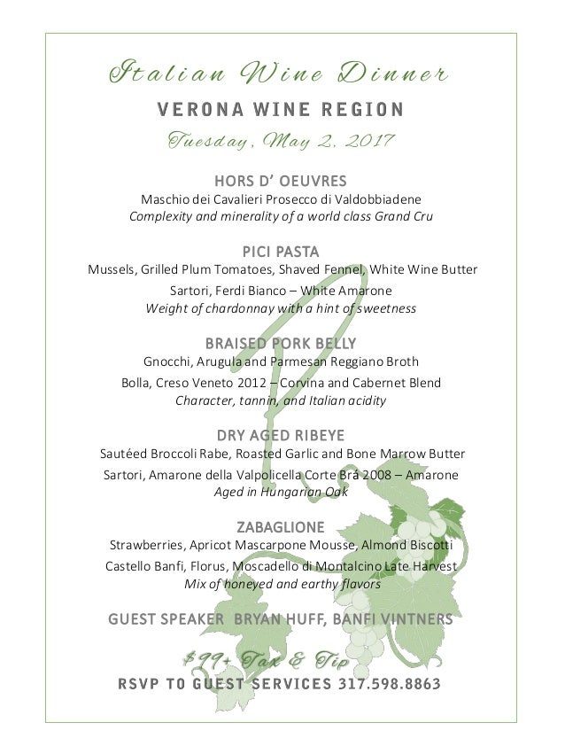 Italian Wine Dinner Menu At Petersons May Nd