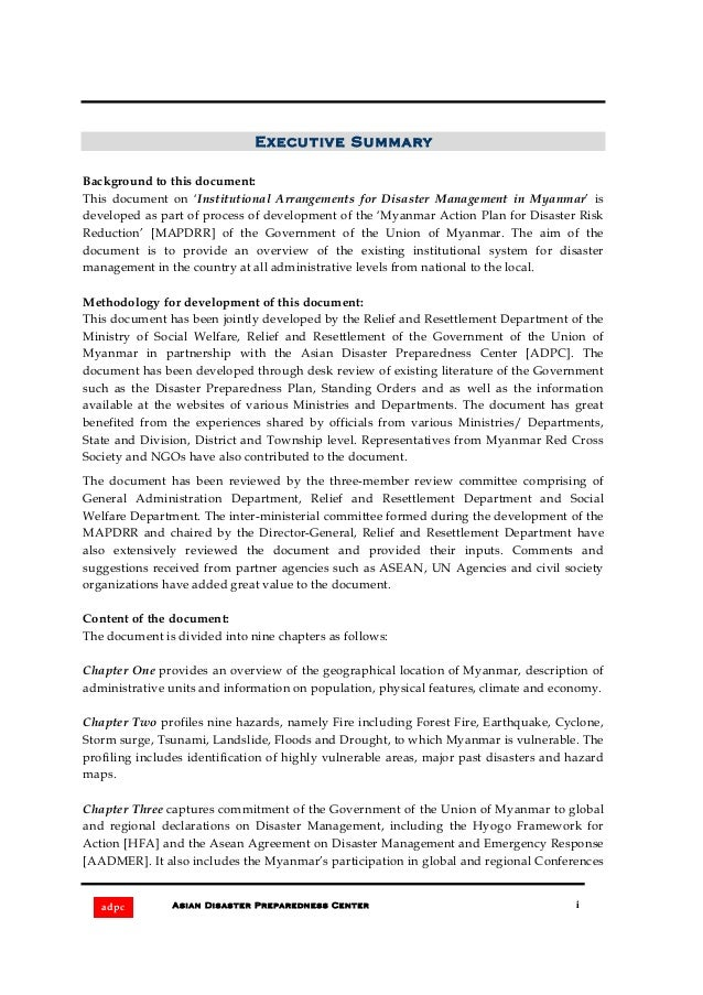 Institutional arrangements for disaster management in myanmar Slide 2