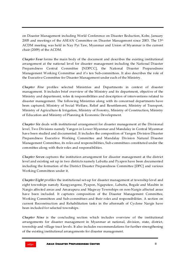 Institutional arrangements for disaster management in myanmar Slide 3