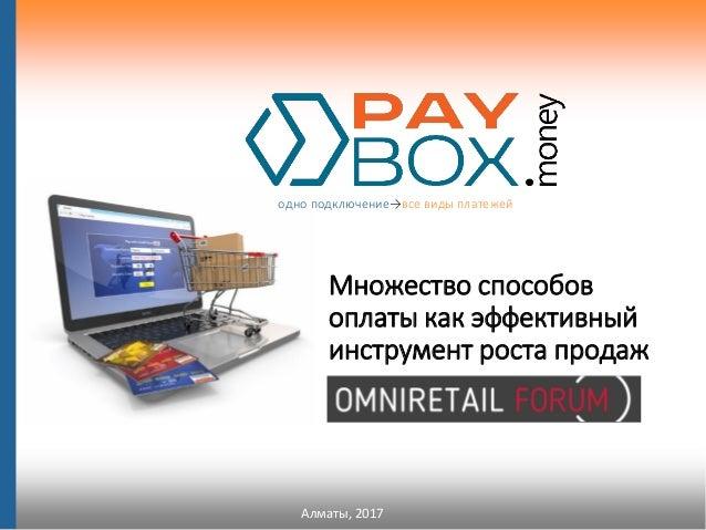 Алматы, 2017 одно подключение→все виды платежей Множество способов оплаты как эффективный инструмент роста продаж