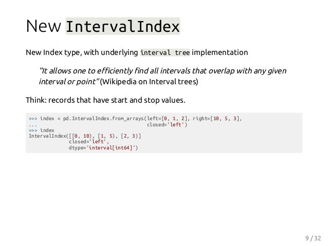 """New IntervalIndex New Index type, with underlying interval tree implementation """"It allows one to efficiently find all interva..."""