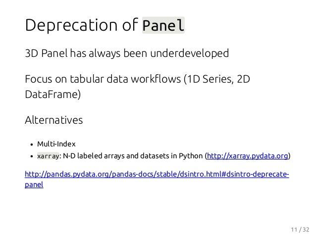 Deprecation of Panel 3D Panel has always been underdeveloped Focus on tabular data workflows (1D Series, 2D DataFrame) Alte...