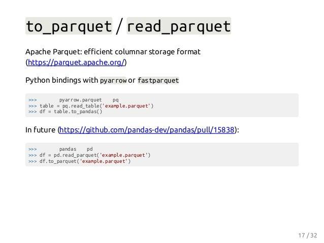 to_parquet / read_parquet Apache Parquet: efficient columnar storage format (https://parquet.apache.org/) Python bindings wi...