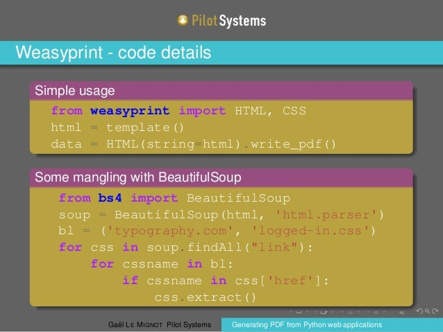 Ways to generate PDF from Python Web applications, Gaël Le Mignot