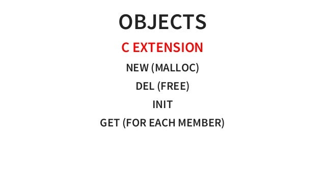 OBJECTS CEXTENSION NEW(MALLOC) DEL(FREE) INIT GET(FOREACHMEMBER)