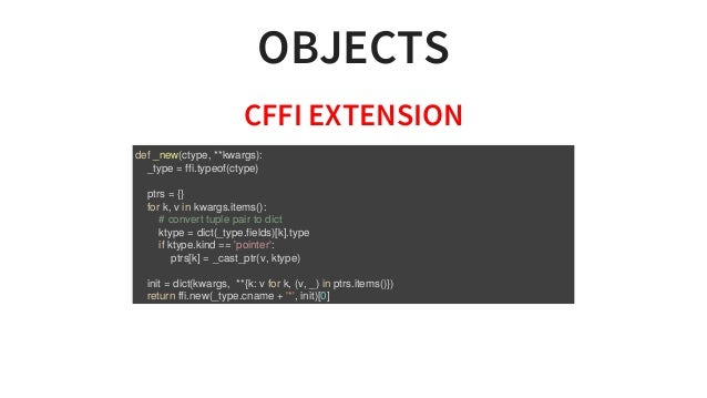 OBJECTS CFFIEXTENSION def_new(ctype,**kwargs): _type=ffi.typeof(ctype) ptrs={} fork,vinkwargs.items...