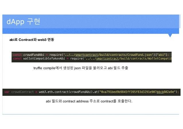 dApp 구현 abi로 Contract와 web3 연동 truffle compile에서 생성된 json 파일을 불러오고 abi 필드 추출 abi 필드와 contract address 주소로 contract를 호출한다.