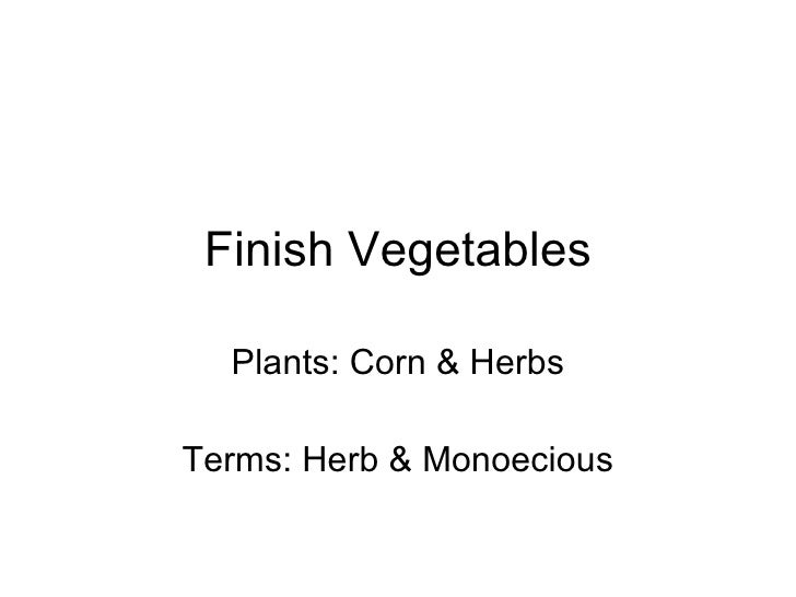 Finish Vegetables Plants: Corn & Herbs Terms: Herb & Monoecious
