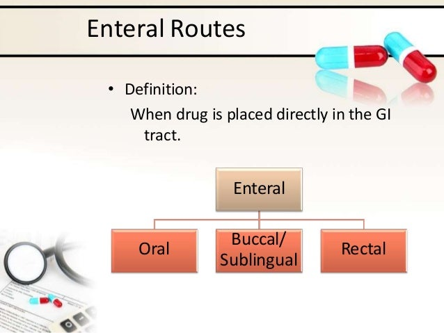 Enteral Routes • Definition: When drug is placed directly in the GI tract. Enteral Oral Buccal/ Sublingual Rectal