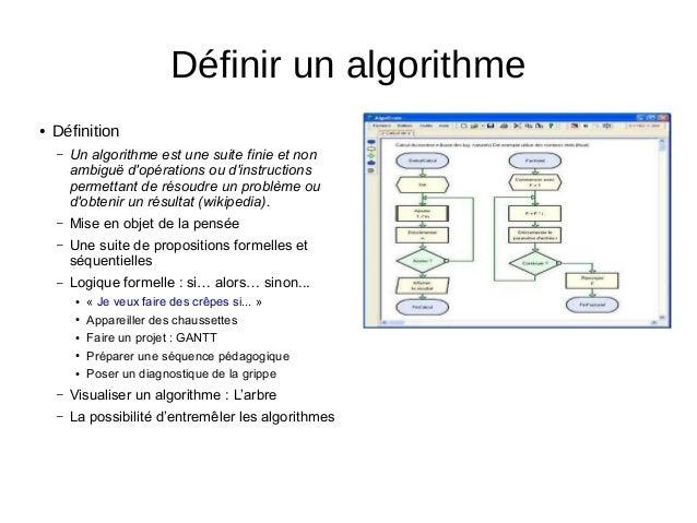 ● Définition – Un algorithme est une suite finie et non ambiguë d'opérations ou d'instructions permettant de résoudre un p...