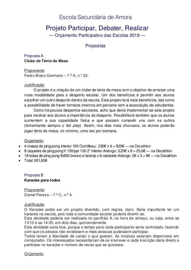 Escola Secundária de Amora Projeto Participar, Debater, Realizar — Orçamento Participativo das Escolas 2018 — Propostas Pr...