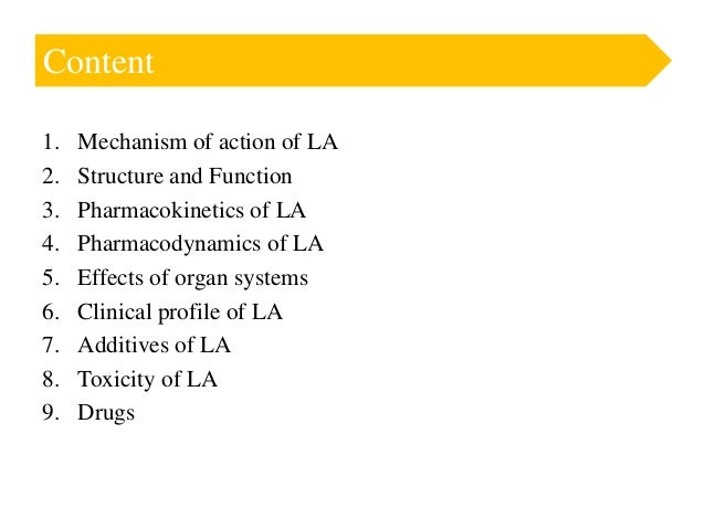 Local anesthetics and additives  Slide 2