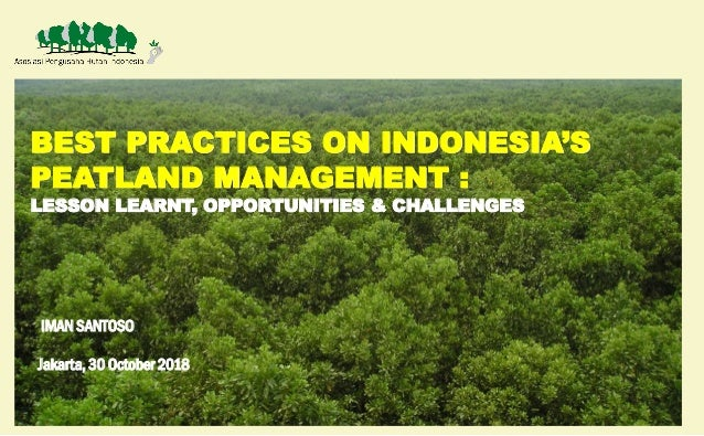 BEST PRACTICES ON INDONESIA'S PEATLAND MANAGEMENT : LESSON LEARNT, OPPORTUNITIES & CHALLENGES IMAN SANTOSO Jakarta, 30 Oct...
