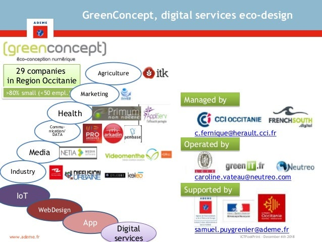 ICTFootPrint - December 4th 2018www.ademe.fr GreenConcept, digital services eco-design 29 companies in Region Occitanie >8...