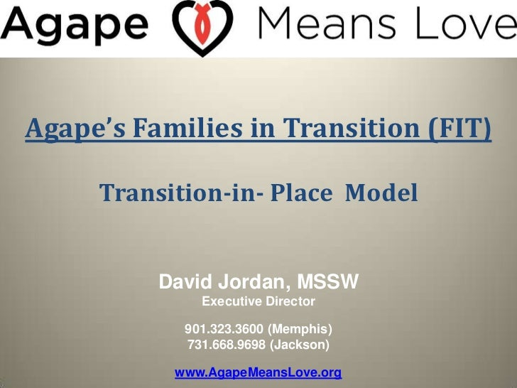 Agape's Families in Transition (FIT)     Transition-in- Place Model          David Jordan, MSSW              Executive Dir...