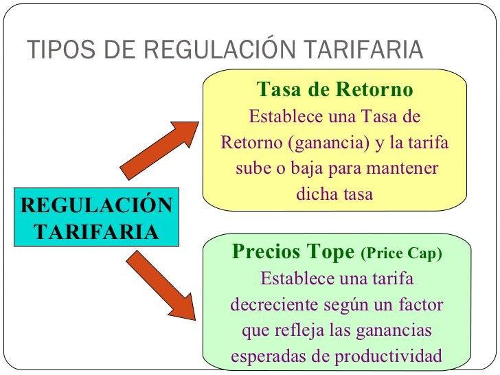 TIPOS DE REGULACIÓN TARIFARIA Tasa de Retorno Establece una Tasa de Retorno (ganancia) y la tarifa sube o baja para manten...