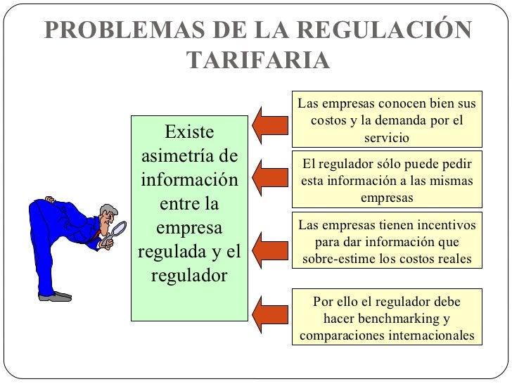 PROBLEMAS DE LA REGULACIÓN TARIFARIA Existe asimetría de información entre la empresa regulada y el regulador Las empresas...