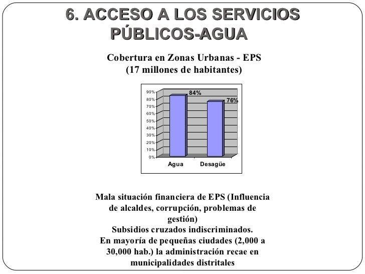 6. ACCESO A LOS SERVICIOS PÚBLICOS-AGUA  Cobertura en Zonas Urbanas - EPS (17 millones de habitantes) Mala situación finan...