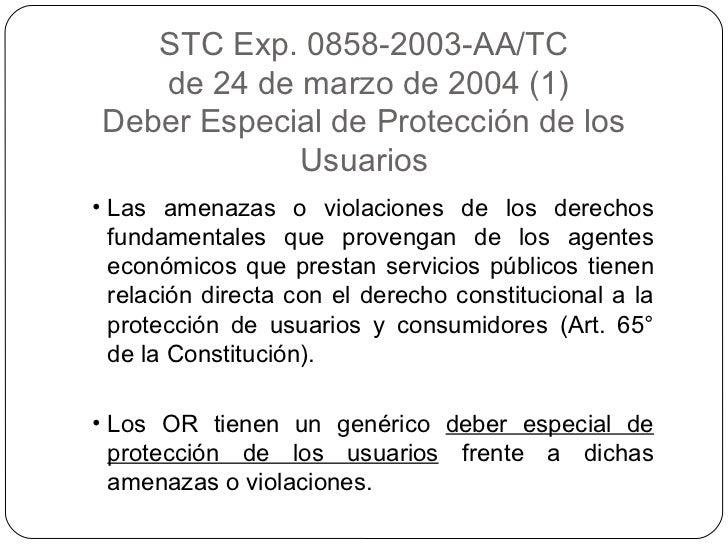 STC Exp. 0858-2003-AA/TC de 24 de marzo de 2004 (1) Deber Especial de Protección de los Usuarios <ul><li>Las amenazas o vi...