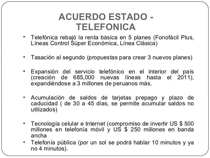 ACUERDO ESTADO - TELEFONICA <ul><li>Telefónica rebajó la renta básica en 5 planes (Fonofácil Plus, Líneas Control Súper Ec...