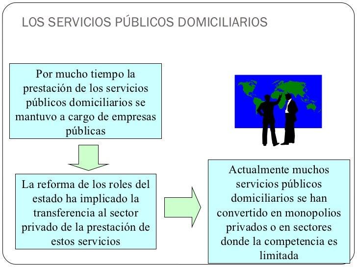 LOS SERVICIOS PÚBLICOS DOMICILIARIOS Por mucho tiempo la prestación de los servicios públicos domiciliarios se mantuvo a c...