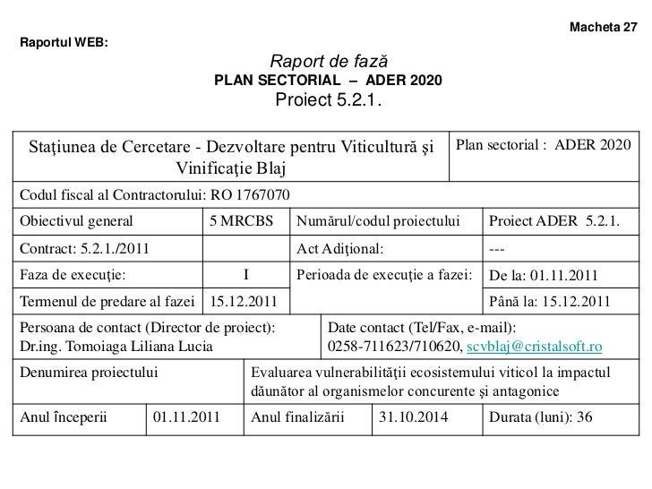 Macheta 27Raportul WEB:                                            Raport de fază                                 PLAN SEC...