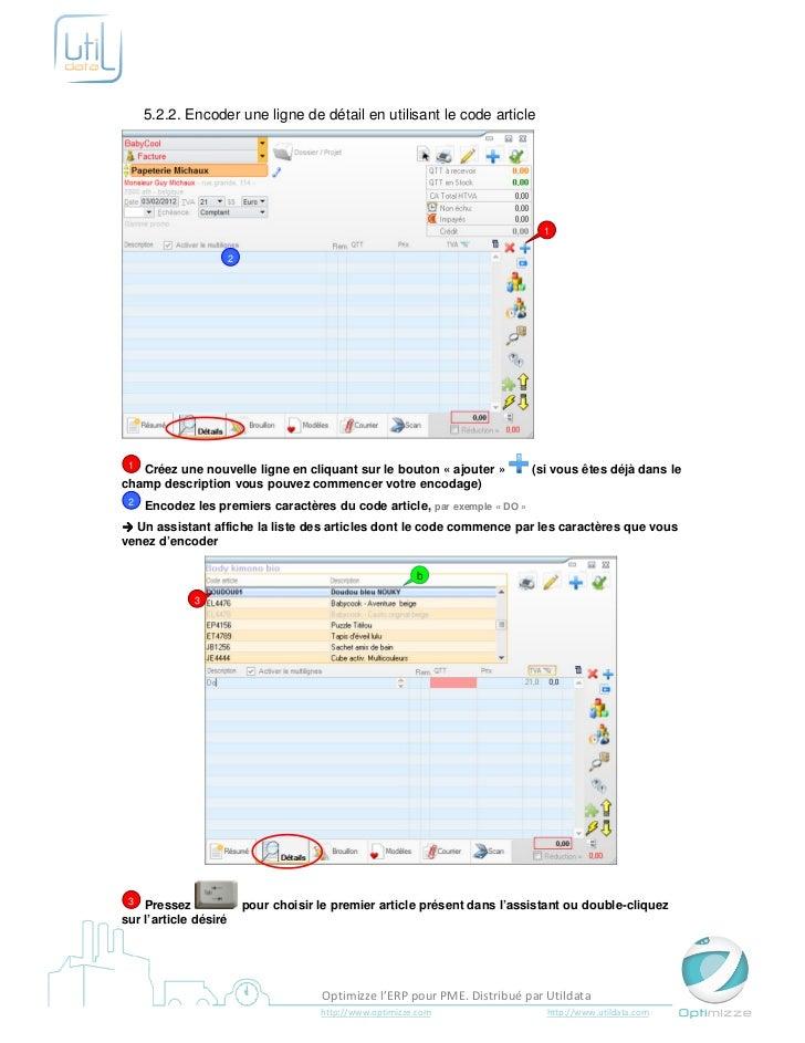 5.2.2. Encoder une ligne de détail en utilisant le code article                                                           ...