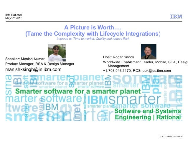 © 2012 IBM CorporationSoftware and SystemsEngineering | RationalA Picture is Worth….(Tame the Complexity with Lifecycle In...