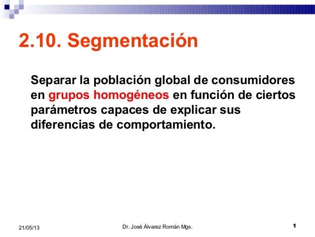 121/05/132.10. SegmentaciónSeparar la población global de consumidoresen grupos homogéneos en función de ciertosparámetros...