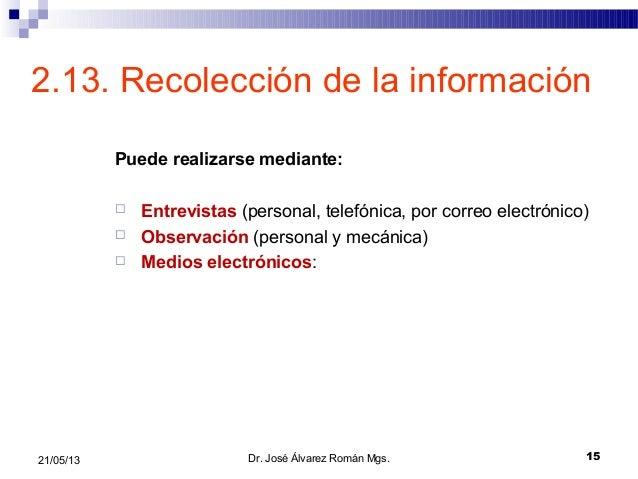1521/05/132.13. Recolección de la informaciónPuede realizarse mediante: Entrevistas (personal, telefónica, por correo ele...
