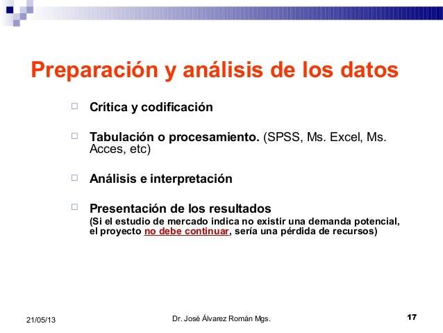 1721/05/13Preparación y análisis de los datos Crítica y codificación Tabulación o procesamiento. (SPSS, Ms. Excel, Ms.Ac...