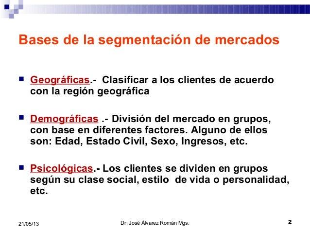 221/05/13Bases de la segmentación de mercados Geográficas.- Clasificar a los clientes de acuerdocon la región geográfica...