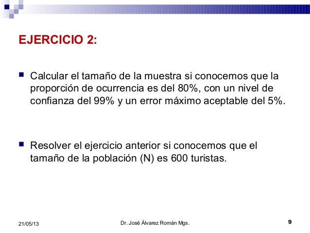 EJERCICIO 2: Calcular el tamaño de la muestra si conocemos que laproporción de ocurrencia es del 80%, con un nivel deconf...