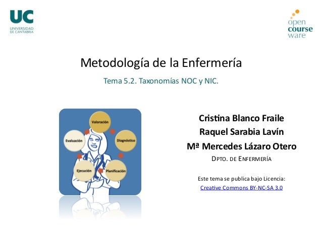 Metodología de la Enfermería  Tema 5.2. Taxonomías NOC y NIC.  Cris%na Blanco Fraile  Raquel Sarabia Lavín  Mª Mercedes Lá...
