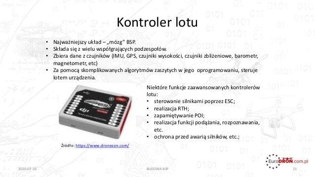 """Kontroler lotu 2020-07-16 BUDOWA BSP 15 Źródło: https://www.dronezon.com/ • Najważniejszy układ – """"mózg"""" BSP. • Składa się..."""