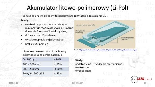 Akumulator litowo-polimerowy (Li-Pol) Zalety: • elektrolit w postaci żelu lub stałej – minimalizuje możliwość wycieku i mo...