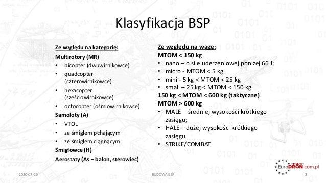 Klasyfikacja BSP 2020-07-16 BUDOWA BSP 2 Ze względu na kategorię: Multirotory (MR) • bicopter (dwuwirnikowce) • quadcopter...