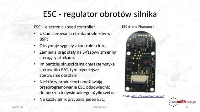 ESC - regulator obrotów silnika ESC – electronic speed controller • Układ sterowania obrotami silników w BSP; • Otrzymuje ...