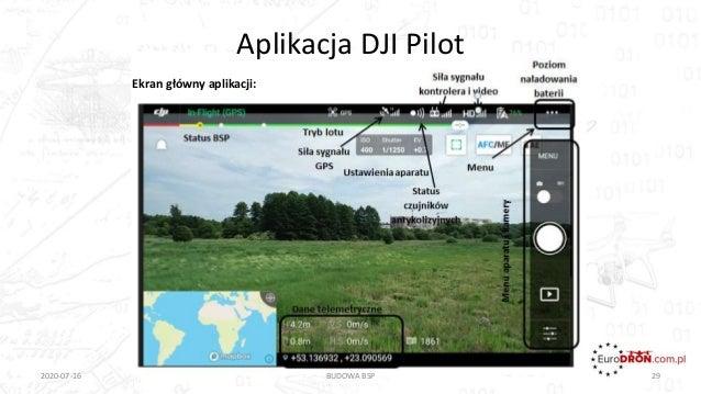 Aplikacja DJI Pilot 2020-07-16 BUDOWA BSP 29 Ekran główny aplikacji: