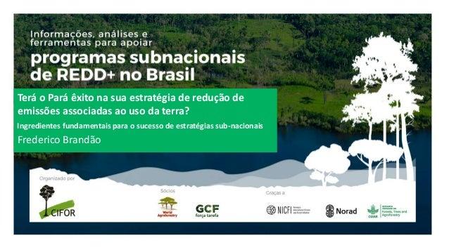 Terá o Pará êxito na sua estratégia de redução de emissões associadas ao uso da terra? Frederico Brandão Ingredientes fund...