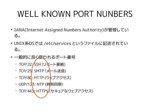 WELL KNOWN PORT NUNBERS ● IANA(Internet Assigned Numbers Authority)が管理してい る。 ● UNIX系OSでは /etc/services というファイルに記述されてい る。 ●...