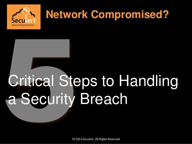 © 2013 Seculert, All Rights Reserved Network Compromised? Critical Steps to Handling a Security Breach
