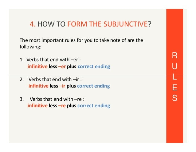 the use of the subjunctive in The subjunctive form in subordinate sentences  it is grammatically obligatory or it expresses just a mood:  in the conjunctive clauses , subject or object  its use depends on the verb in the main clause.