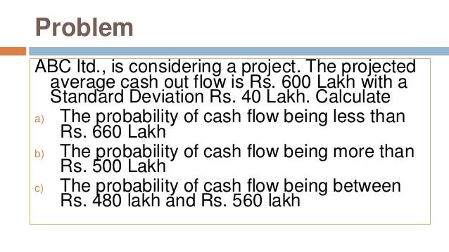 Problem ABC ltd., is considering a project. The projected average cash out flow is Rs. 600 Lakh with a Standard Deviation ...