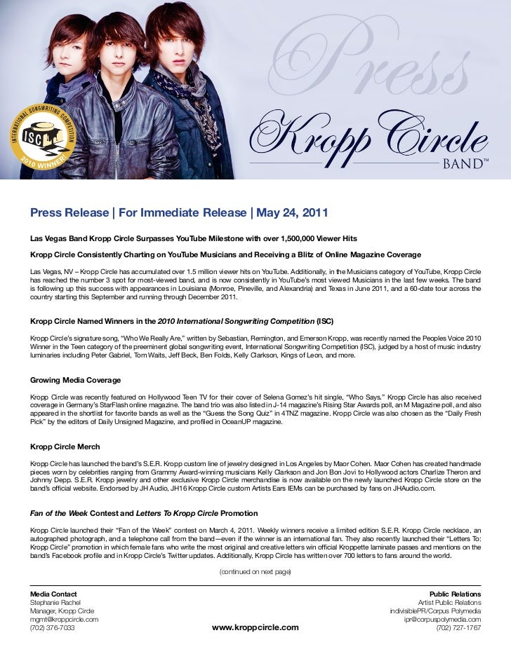 Press Release | For Immediate Release | May 24, 2011Las Vegas Band Kropp Circle Surpasses YouTube Milestone with over 1,50...