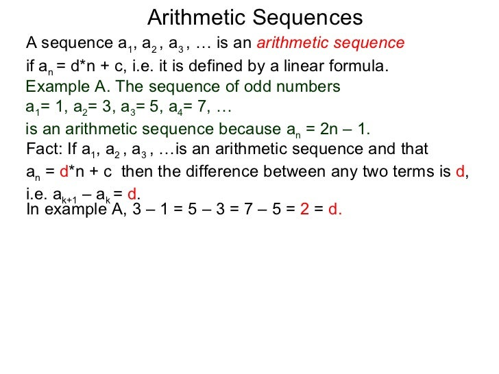 Arithmetic SequencesA Sequence ...