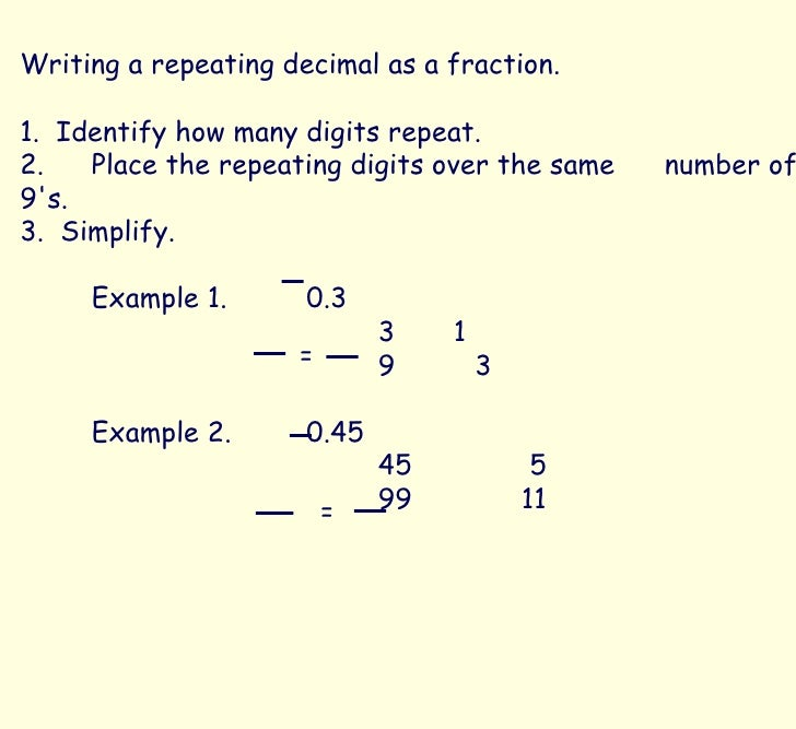 writing a fraction as a decimal Converting - fractions, decimals, and percents 1 fraction to decimal: divide the  denominator into the numerator example: 75 4 3 = 2 fraction to percent.
